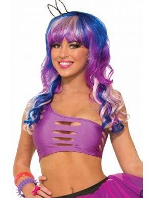 Candy Club 80's Purple Costume Cutout Bra Top