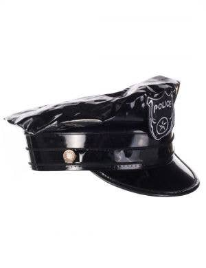 Vinyl Black Police Officer Hat