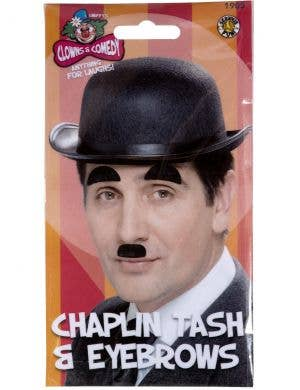Charlie Chaplin Black Moustache and Eyebrows Set