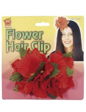 Large Red Hawaiian Flower Hair Clip Costume Accessory