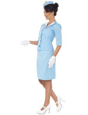 Sky Blue Women's Retro Air Hostess Costume