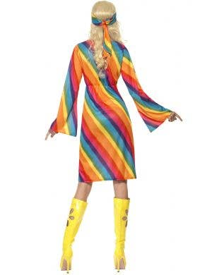 70's Women's Rainbow Hippie Fancy Dress Costume