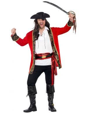 Curves Pirate Captain Fancy Dress Men's Costume