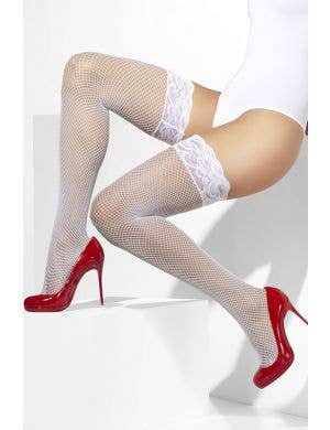 Stay Up White Fishnet Lace Top Thigh High Stockings
