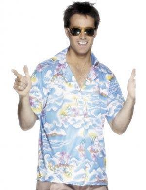 Tropical Island Men's Blue Hawaiian Costume Shirt