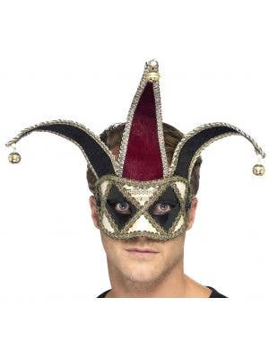 Harlequin Jester Red and Black Masquerade Mask