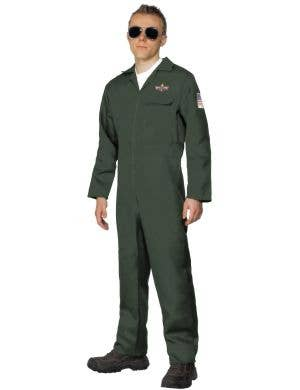 Aviator Men's Dark Green Flight Suit Costume