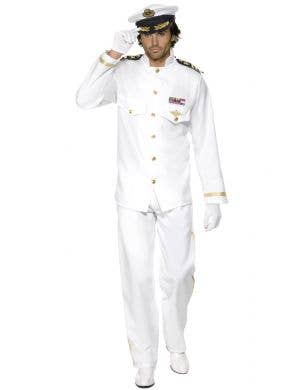 Flight Captain Men's White Suit Fancy Dress Costume