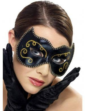 Vinyl Masquerade Mask In Black And Gold