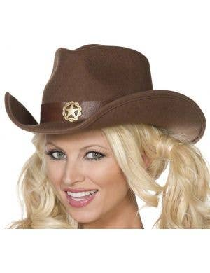 Wild West Brown Felt Cowgirl Hat