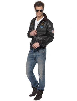Top Gun Men's Brown Vinyl Jacket Costume