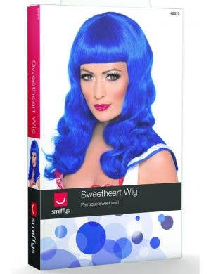 Sweetheart Long Blue Curly Women's Costume Wig