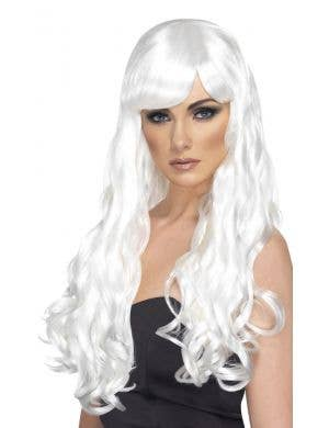 Desire Women's Long White Curly Costume Wig