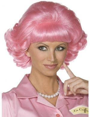 Pink Lady Frenchy Curly Pink Women's Costume Wig