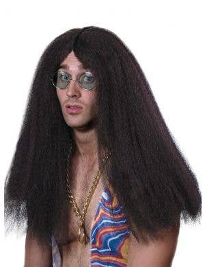 Hippy Men's Long Black Crimped Wig
