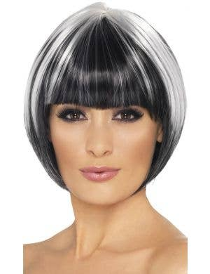 Quirky Black and White Women's Bob Costume Wig