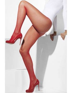 Full Length Red Fishnet Women's Pantyhose