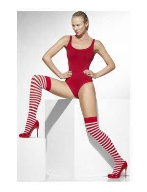 Christmas Red And White Striped Women's Thigh High Stockings