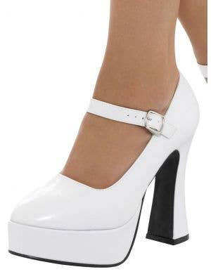 1970's White Patent Women's Platform Shoes