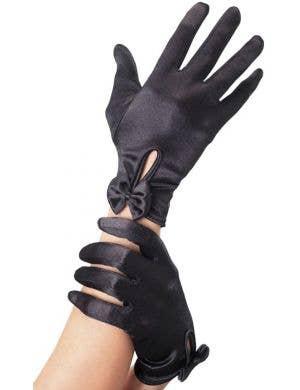 Wrist Length Black Satin Gloves with Bow