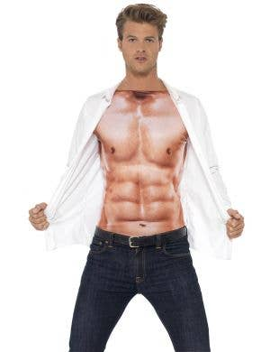 Realistic Men's Sexy Six-Pack Muscles Costume Top