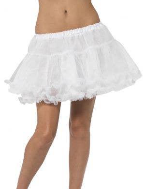 White Thigh Length Women's Costume Petticoat