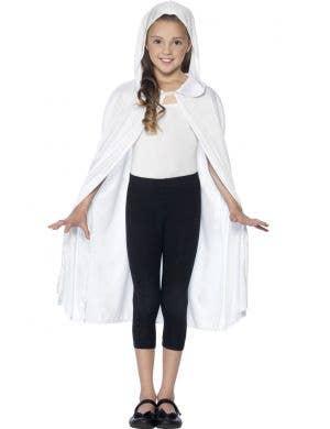 Basic Kids Unisex Hooded White Costume Cape