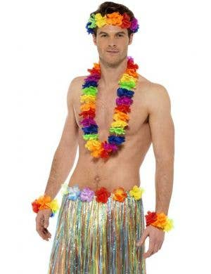Hawaiian Rainbow Flower Lei Accessory Set