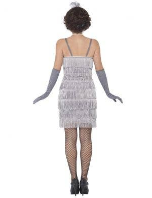 1920's Short Silver Fringed Flapper Women's Costume