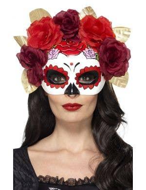 Day of the Dead Sugar Skull Burgundy Masquerade Mask