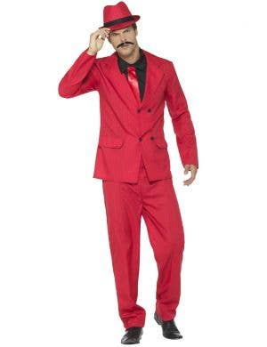 Zoot Suit Men's Red Pinstripe Gangster Costume