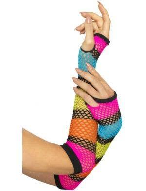 1980's Rainbow Fishnet Fingerless Gloves Costume Accessory