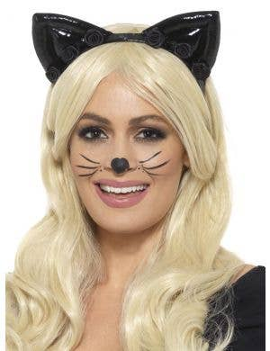 Deluxe Black Cat Ears and Tail Costume Kit