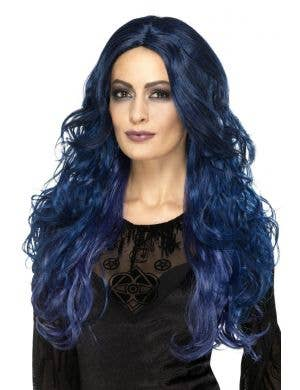 Occult Witch Siren Dark Blue Curly Wig