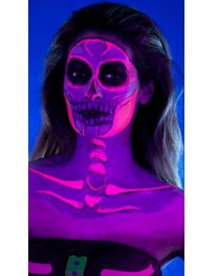 Neon Skeleton Latex Face And Body Paint Kit