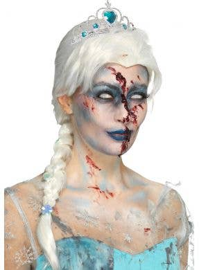 Frozen Women's White Braided Costume Wig with Snowflakes