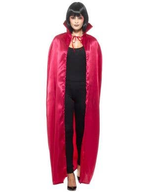 Satin Red Devil Cape With High Collar