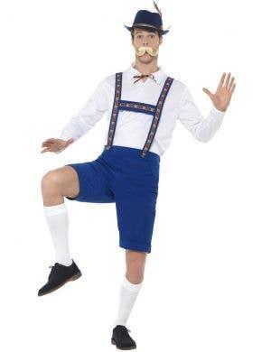 Oktoberfest Bavarian Men's Blue and White Lederhosen Costume