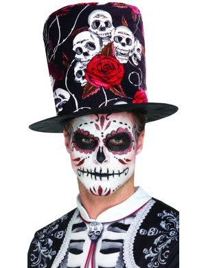Day of the Dead Skulls and Roses Tall Top Hat