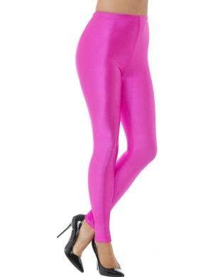 Hot Pink 80s Disco Full Length Spandex Leggings