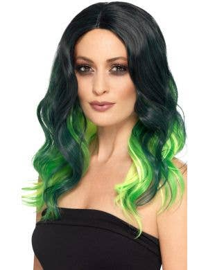Deluxe Green and Black Ombre Women's Costume Wig