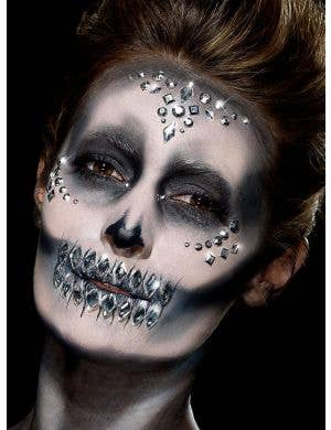 Assorted Self Adhesive Day of the Dead Silver Face Gems