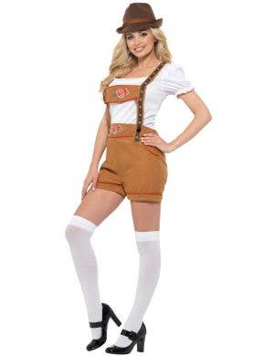 Bavarian Beer Girl Women's Brown Lederhosen Oktoberfest Costume