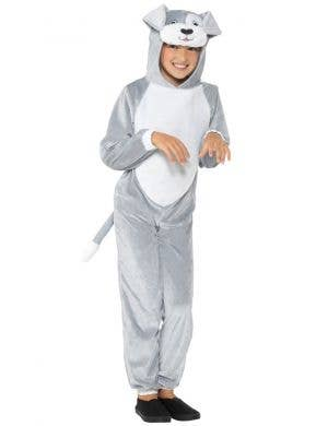 Cute Dog Kids Grey Jumpsuit Book Week Costume