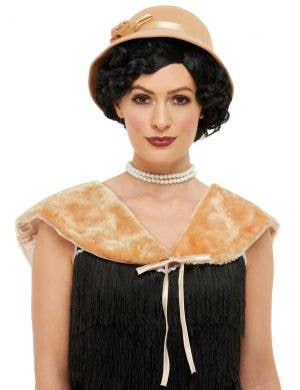 1920's Beige Flapper Shawl and Hat Accessory Set