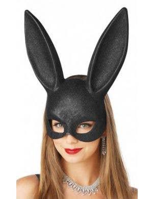 Bunny Black Glitter Adult's Masquerade Mask