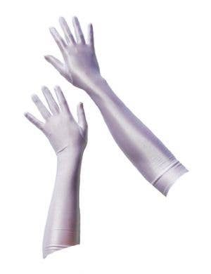 Long White Costume Accessory Satin Gloves