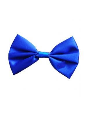 Bright Blue Satin Bow Tie Costume Accessory