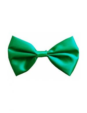 Bright Green Satin Bow Tie Costume Accessory