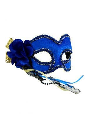 Royal Blue Velvet Masquerade Mask on Glasses